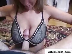 Big tit wife pleasures his cock meat tubes