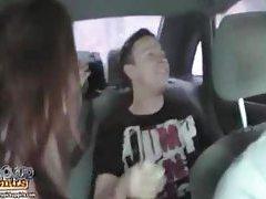 Naked girl in the car sucking on dicks tubes