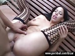 Girl in stockings fucks outdoors tubes