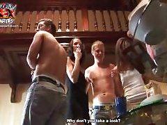 Slender party girls getting naked tubes