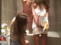 Lesbian party in the bathtub tubes