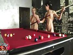 Teenage girls playing pool naked tubes
