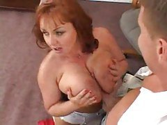 Slutty big tits redhead secretary taken tube