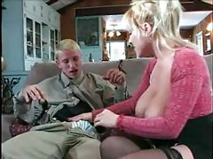 Young video gaming guy does blonde milf tubes