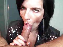 She licks the cock until it cums tubes