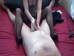 Chick in latex gloves giving a hot handjob tubes