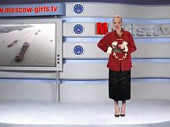 Tasty chick doing the news and stripping tubes