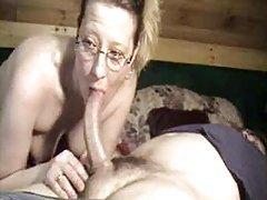 Cute wife in glasses deepthroating dick tubes