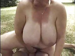 French fatty riding dick in the grass tubes