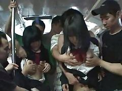 Two shy schoolgirls molested in a Bus tubes