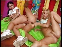 Adorable teens in a lusty threesome with anal tubes