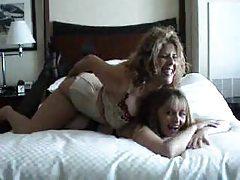 Lesbian scene features girls in lingerie tubes