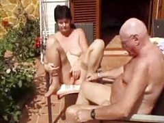 Horny old lady naked outdoors with hubby tubes