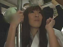 Japanese girl takes cumshots on the bus tubes
