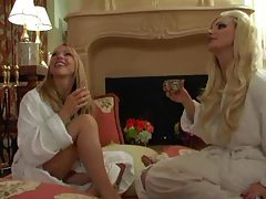 Blondes alone in the bedroom for lesbian sex tubes