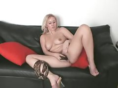 Blonde strips from lingerie to toy pussy tubes