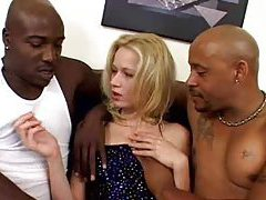 Black men with big cocks DP a skinny blonde tubes