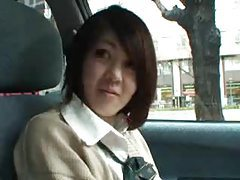 Japanese girl playing naughty in the car tubes