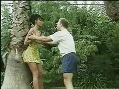 Jungle babe is saved by a stud and gives him her pussy tubes