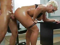 Her oiled up ass is big during anal sex tubes