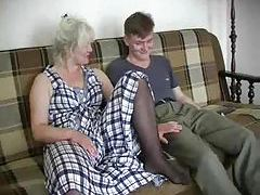 Granny and the young man going at it tubes
