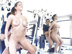 Perky tit chick sitting on cock in the gym tubes