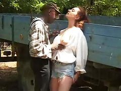 Black guy nails while girl outdoors tubes