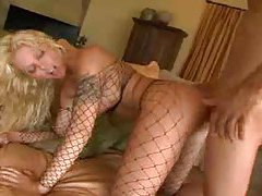 Hot fishnets whore banged in the ass tubes
