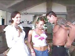 Pretty bride does threesome in hot scene tubes