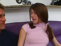 Thick cock fucks slender girl in pigtails tubes