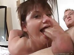 Messy blowjob with lots of gagging tubes
