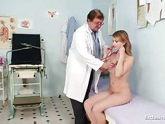 Her pussy is examined by the doctor tubes