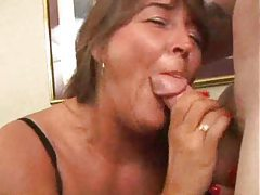 Hot mature slut filled on the couch tubes