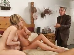 Old guy joins them for a threesome tubes