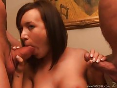 Two guys fuck the perky tit brunette girl tubes