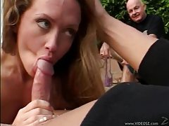 He fucks her wife pussy and cums on her tubes