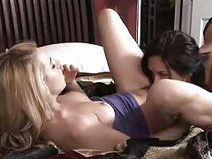 Blonde and brunette make passionate lesbian love tubes