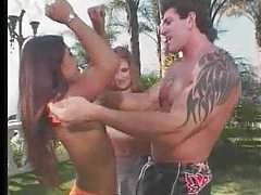 They lustily fuck outdoors in threesome tubes