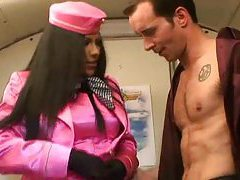 Stewardess in satin sucking on cock tubes