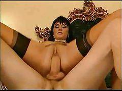 Elegant Italian babe in stockings goes anal tubes