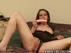 Cute chick has a dildo for her snatch tubes