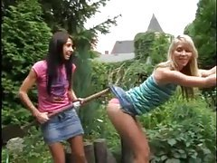 Playful teens have lesbian sex outdoors tubes