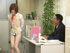 Cute Japanese office girl is bottomless tubes