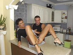 Short haired housewife does anal in kitchen tubes