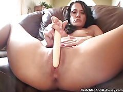 Sexy gal has a dildo and a loud mouth tubes