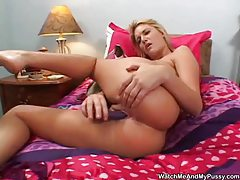 Watch her toy and vibrate her pussy tubes