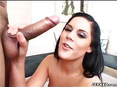 She licks the balls and sucks the cock tubes