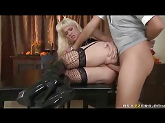 Ball gagged slut in stockings takes cock tubes