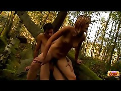 Teen fucked by her man in the forest tubes