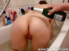 Pouring champagne on and then eating her ass tubes